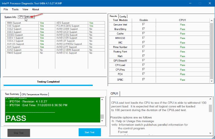 công cụ chẩn đoán bộ xử lý intel cho Windows 10 pic2