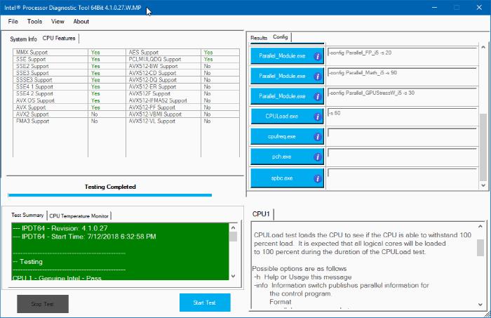 công cụ chẩn đoán bộ xử lý intel cho Windows 10 pic3