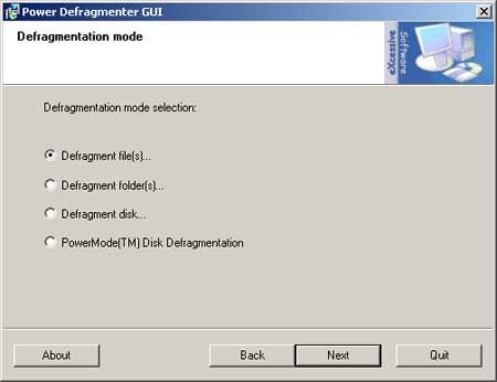 Power Defragmenter Screenshot