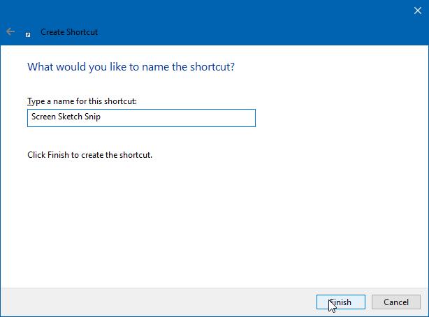 tạo màn hình phác thảo lối tắt bàn phím tắt trong Windows 10 pi3