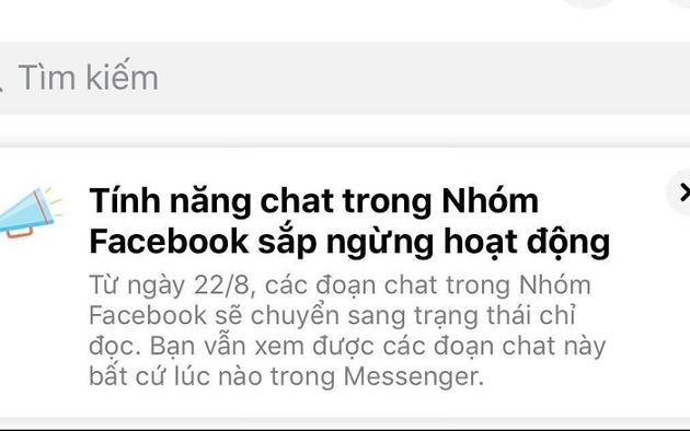 facebook dừng chat nhóm