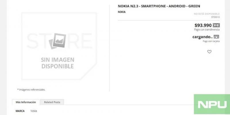 Smartphone Nokia 2.3 lộ giá bán kèm cấu hình trên trang web cửa hàng Tây Ban Nha
