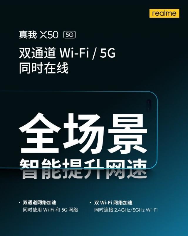 Realme X50 5G sẽ hỗ trợ kênh đôi cho phép sử dụng đồng thời Wi-Fi và 5G