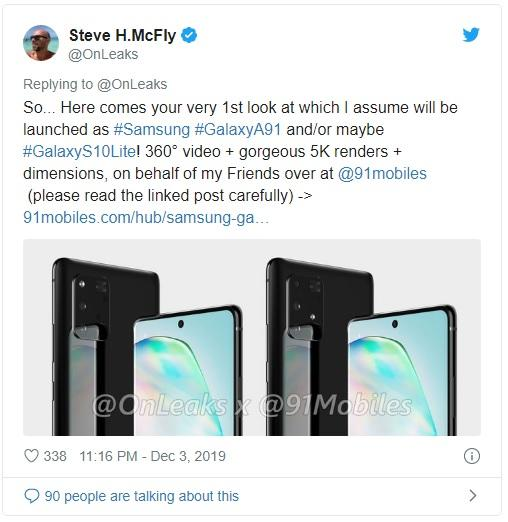 Samsung Galaxy S10 Lite lộ thêm thông tin mới