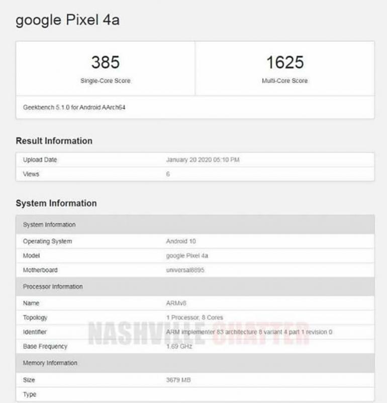 Google Pixel 4a với chip Exynos 8895 và RAM 4GB được phát hiện trên Geekbench