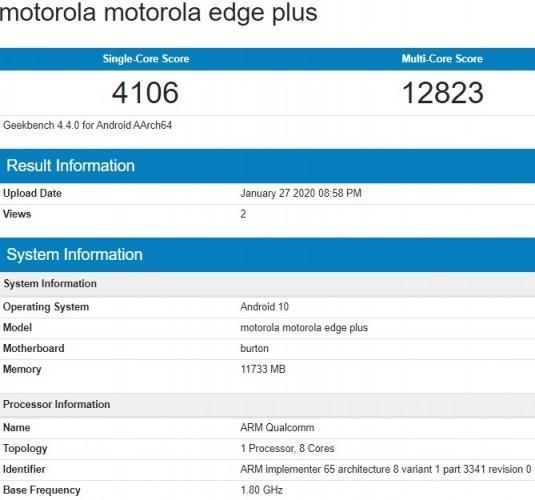 """Motorola Edge+ xuất hiện trên Geekbench với RAM """"khủng"""" 12GB"""