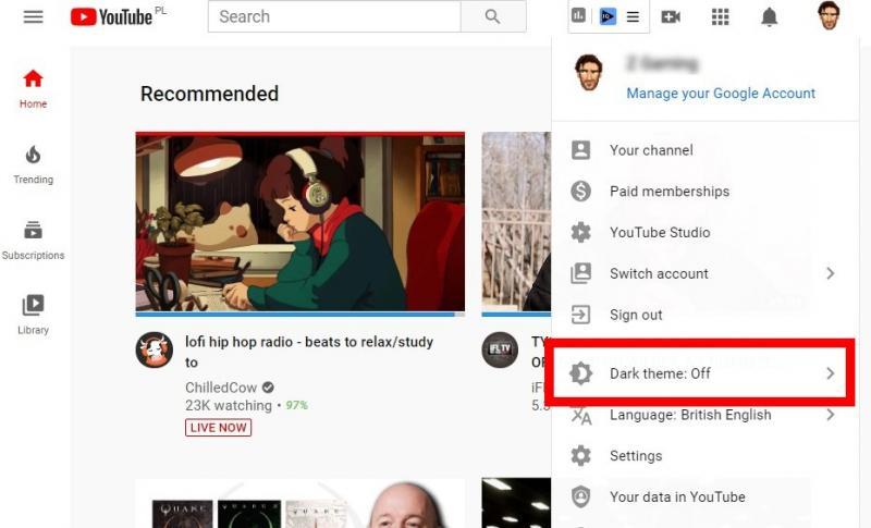 Hướng dẫn cách bật Dark Mode trên YouTube phiên bản web