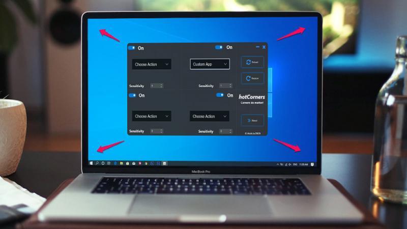 Mở phần mềm, khóa máy, tắt máy bằng cách rê chuột trên Windows 10
