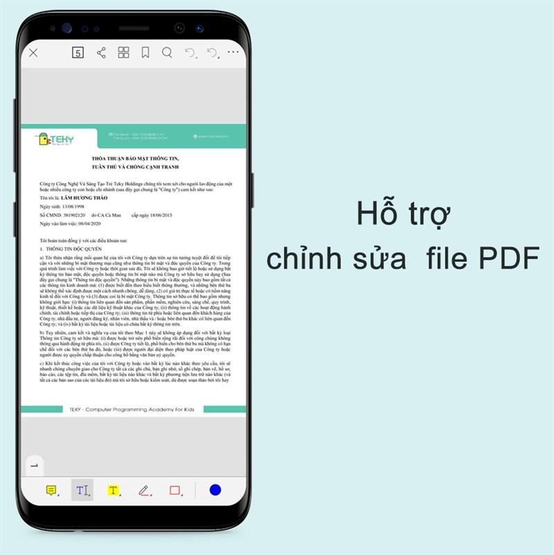 Hỗ trợ chỉnh sửa văn bản trong file PDF