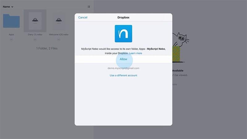 Thao tác đồng bộ hóa Nebo với Dropbox