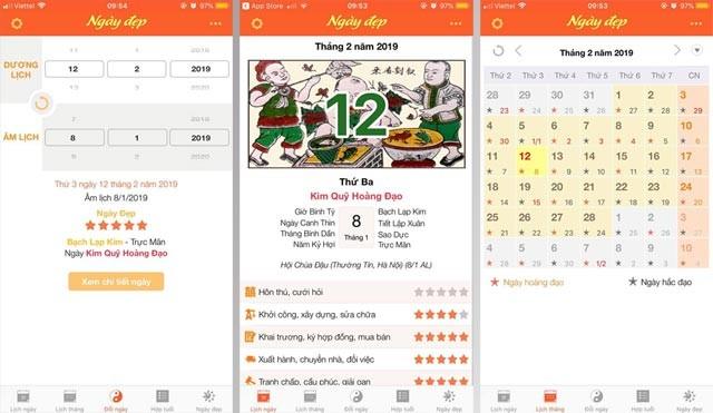 Giao diện ứng dụng lịch ngày đẹp