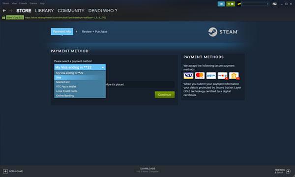 Cách mua game trên Steam bằng thẻ Visa hoặc Mastercard (4)