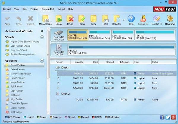 Phần mềm MiniTool Partition Wizard miễn phí