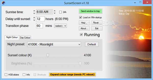 Phần mềm lọc ánh sáng xanh SunsetScreen