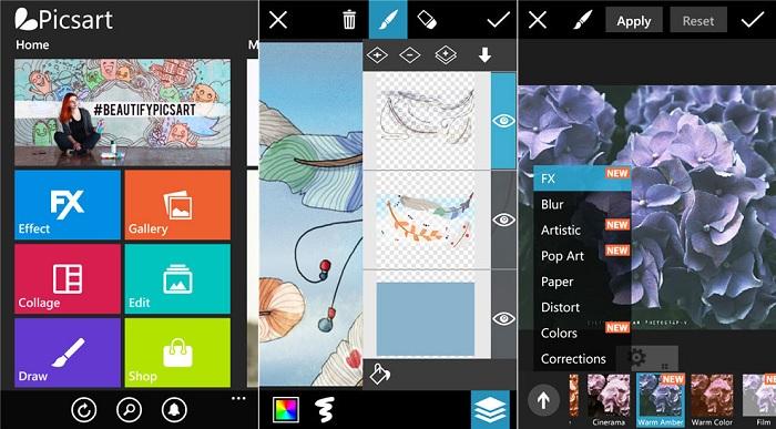 Giao diện ứng dụng chỉnh sửa PicsArt