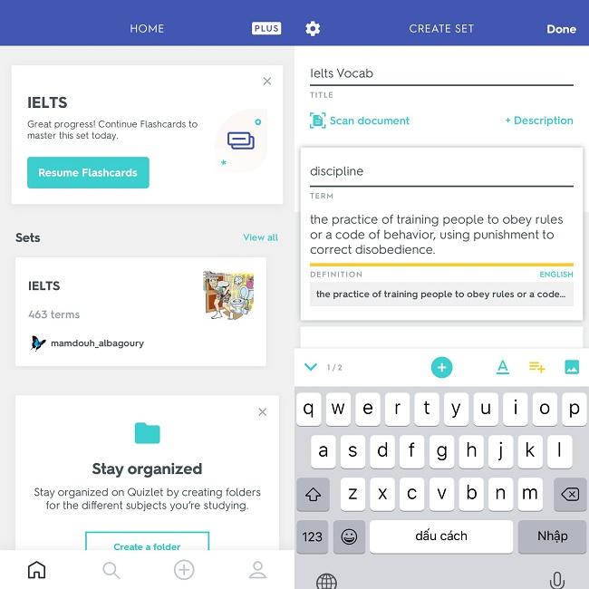 Người dùng cũng có thể tìm kiếm tài liệu học tập trên Quizlet