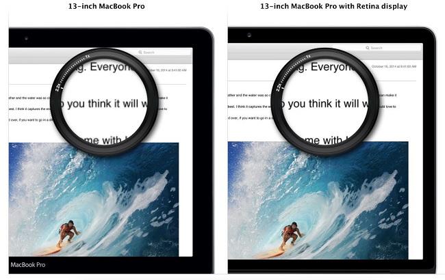 So sánh chất lượng màn hình Retina với các loại màn hình khác