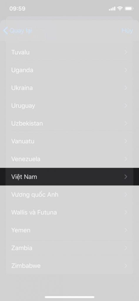 Chọn Quốc gia Việt Nam