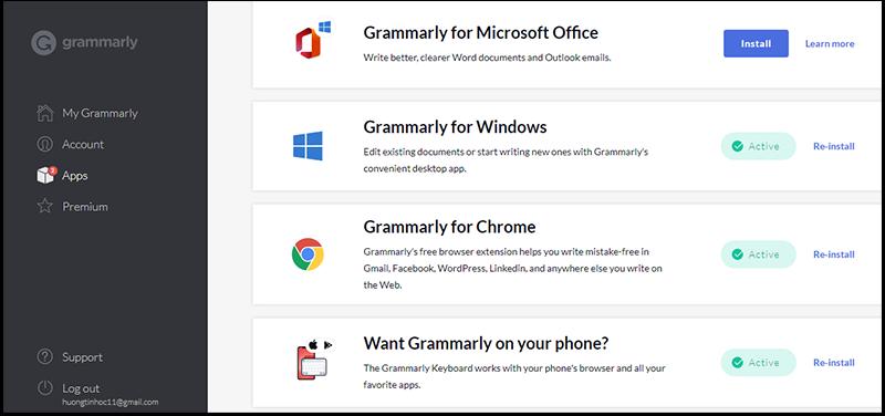 Cài đặt Grammarly trên nhiều nền tảng, trình duyệt, ứng dụng khác nhau.